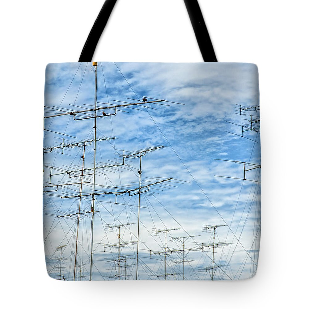 Aerial Tote Bag featuring the photograph Analog Television Aerials by Antony McAulay