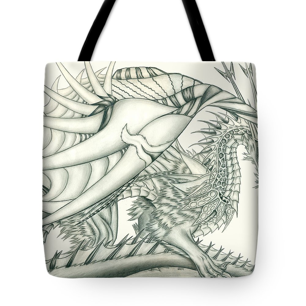 Pencil Work Tote Bag featuring the drawing Anare'il The Chaos Dragon by Shawn Dall