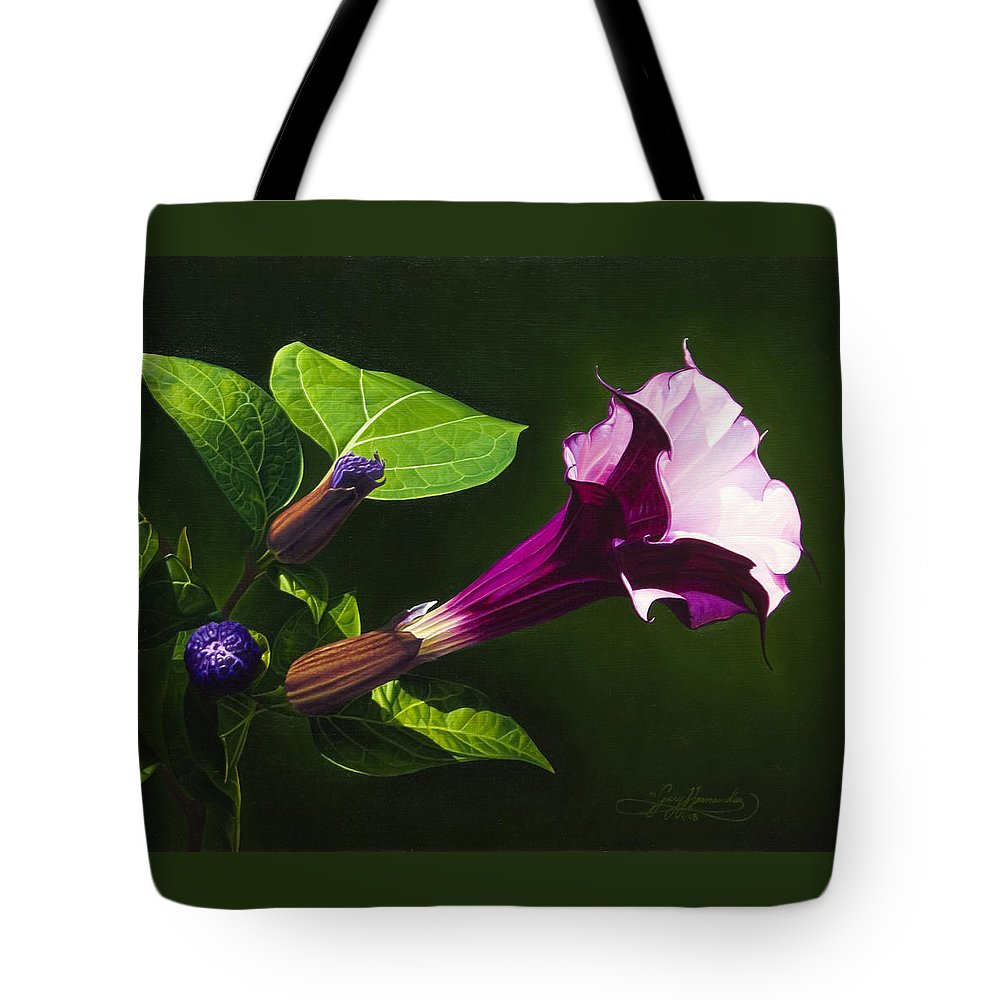 Floral Tote Bag featuring the painting Anastacias Datura by Gary Hernandez