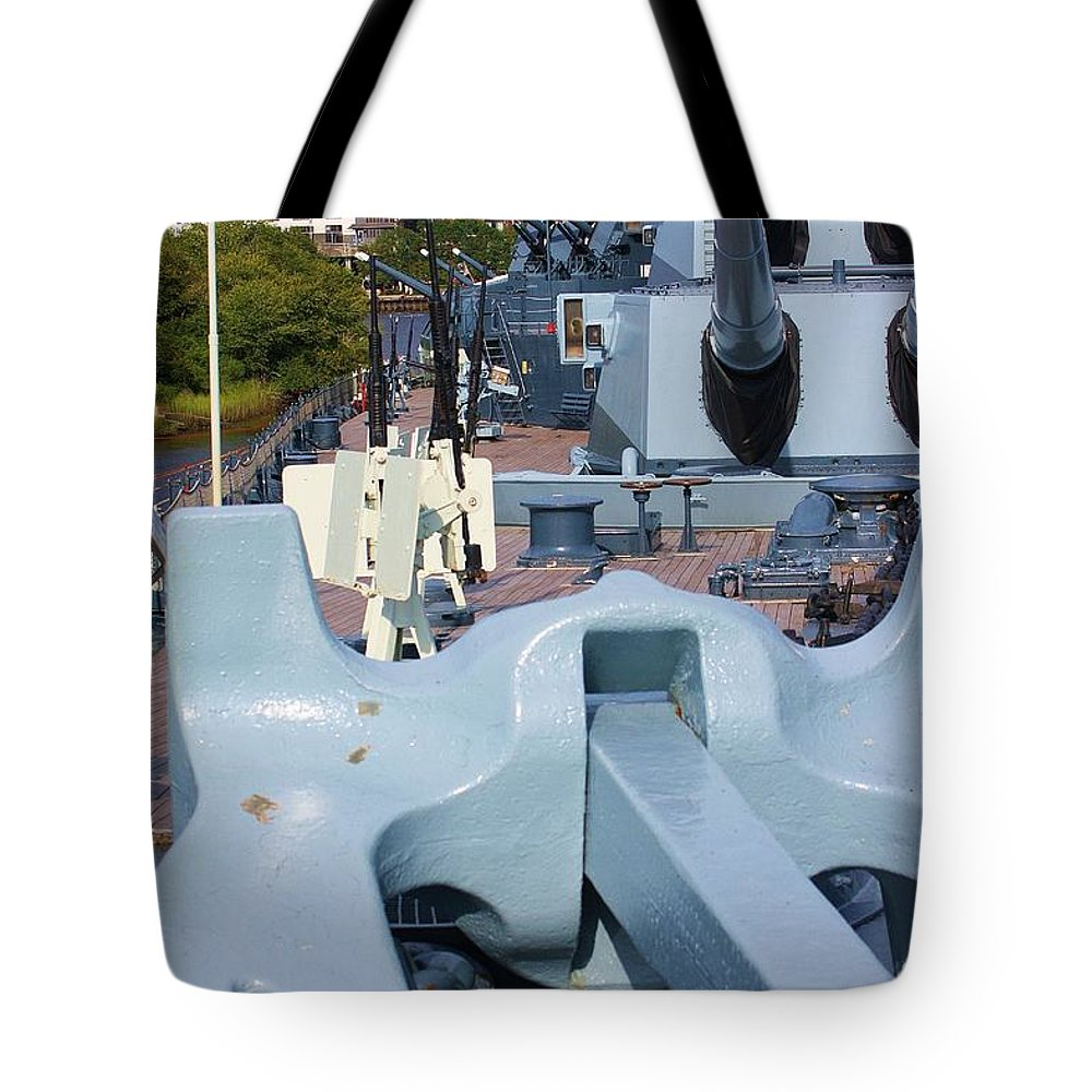 Ship Tote Bag featuring the photograph Anchor And Guns by Chuck Hicks