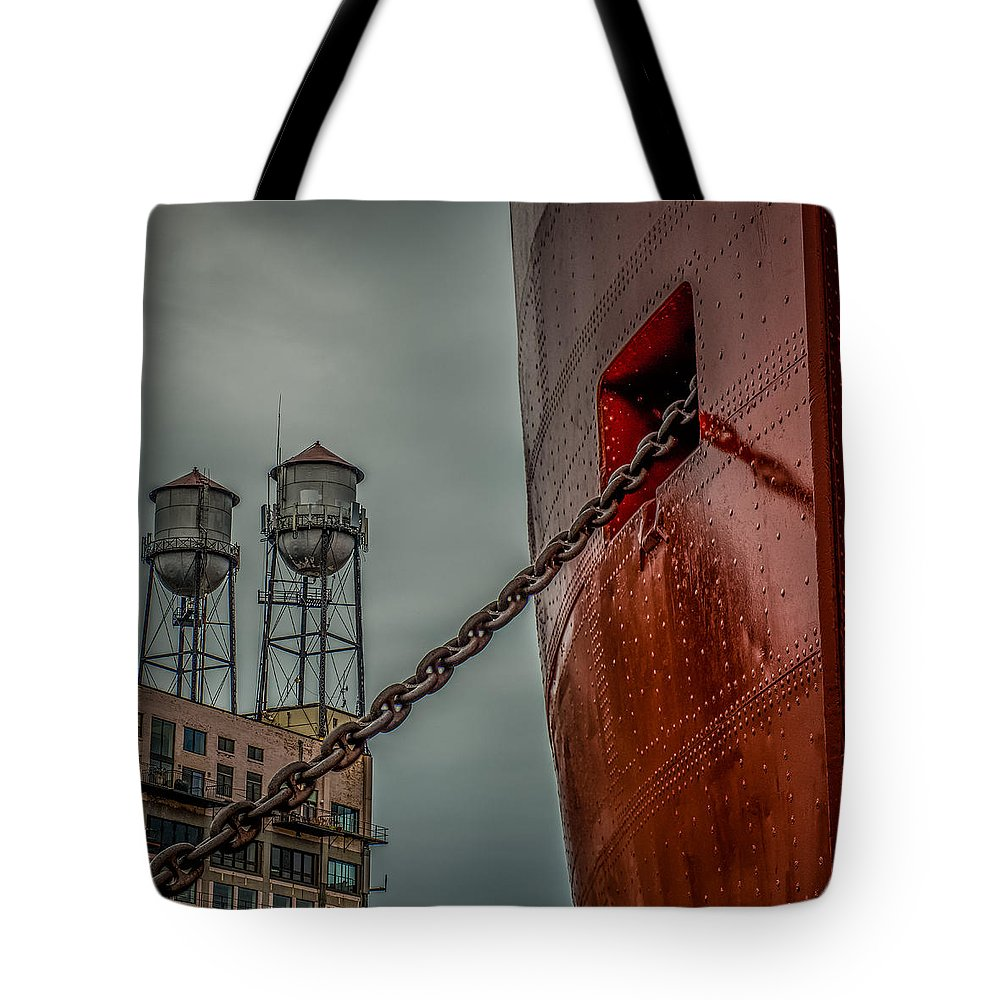 Ss William A Irvin Tote Bag featuring the photograph Anchor Chain by Paul Freidlund