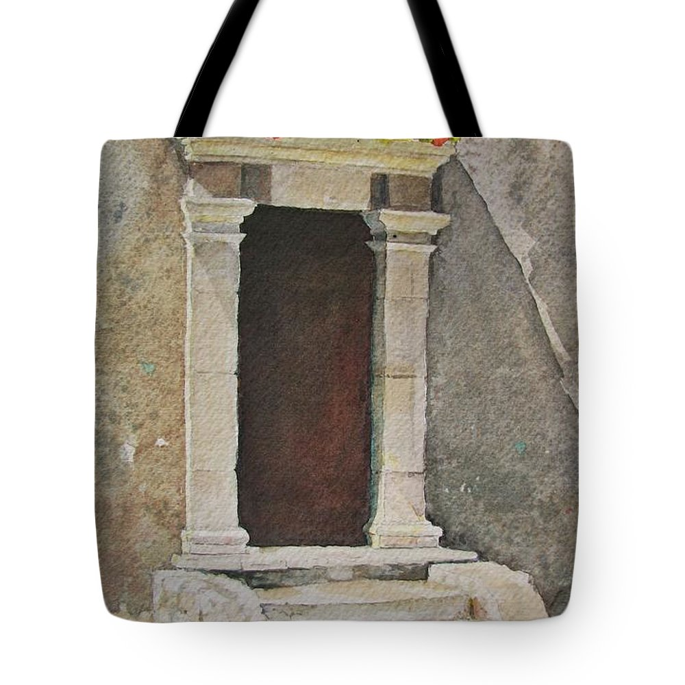 Antique Doorway Tote Bag featuring the painting Ancient Doorway by Mary Ellen Mueller Legault