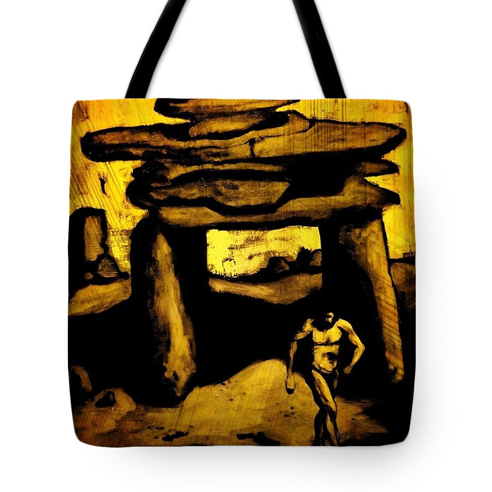 Ancient Grunge Tote Bag featuring the painting Ancient Grunge by John Malone