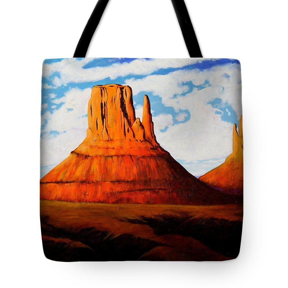 Landscape Of Western Usa Tote Bag featuring the painting Ancient Land Monument Valley by Joe Triano