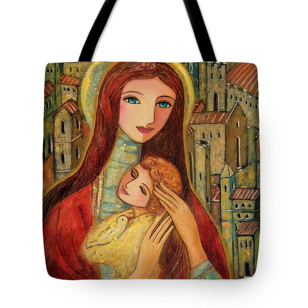 Mother And Child Tote Bag featuring the painting Ancient Mother And Son by Shijun Munns