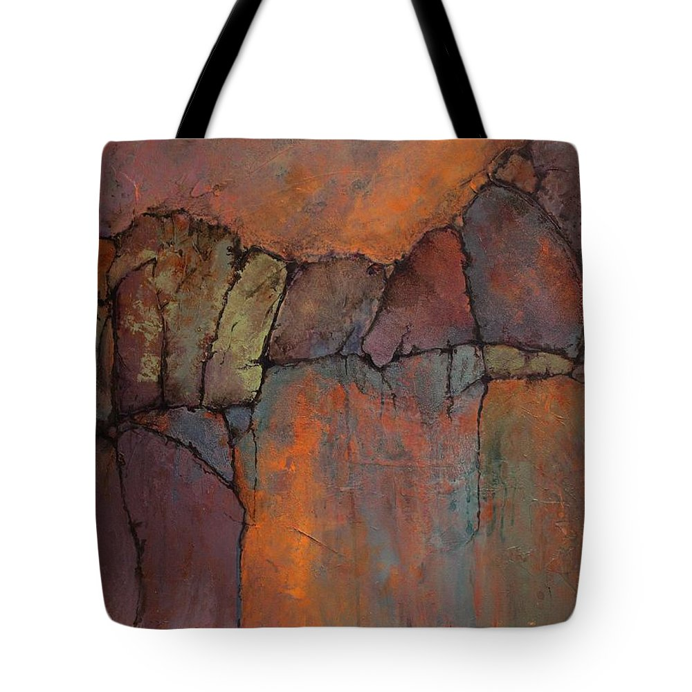 Geologic Tote Bag featuring the painting Ancient Mysteries by Carol Nelson