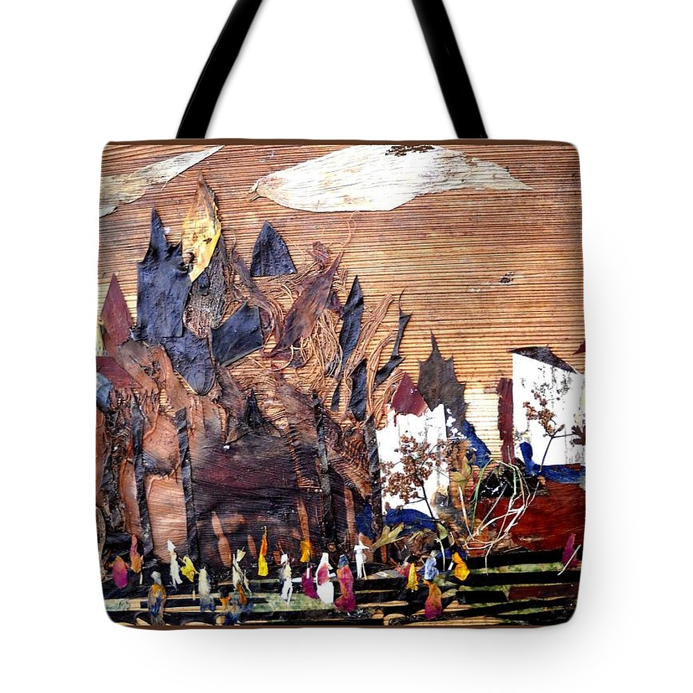 Ancient Palace Tote Bag featuring the mixed media Ancient Palace by Basant Soni