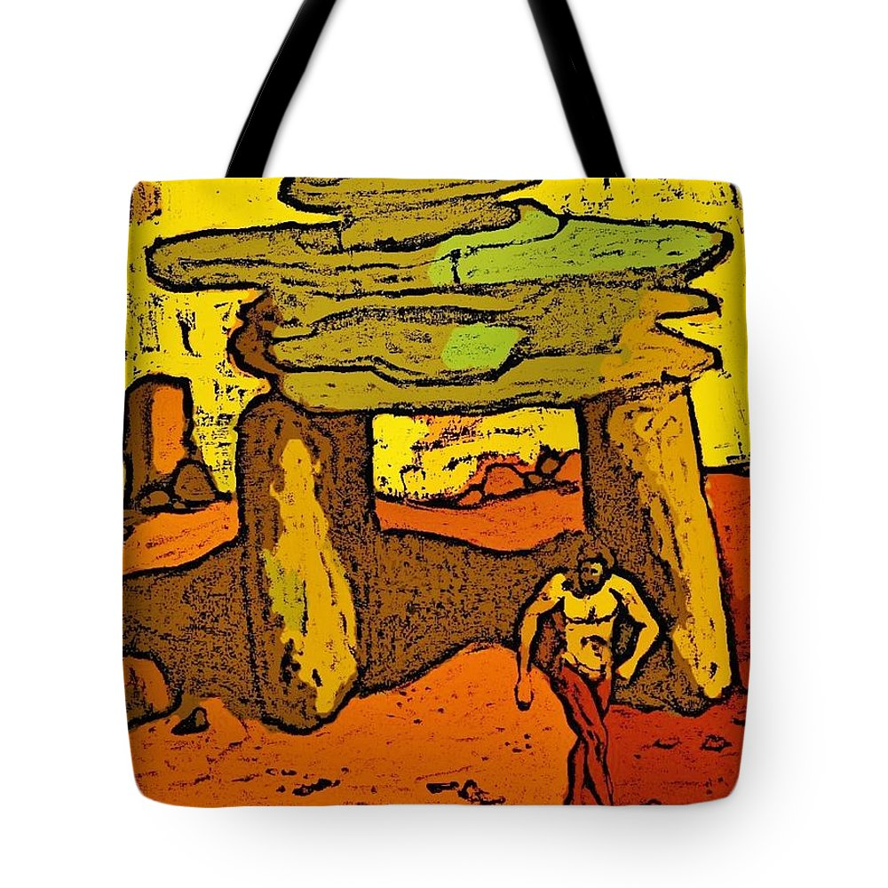 Ancient Tote Bag featuring the digital art Ancient Sand Painting by John Malone