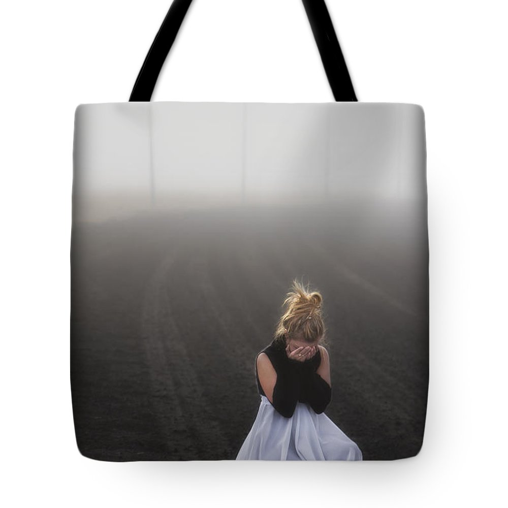Girl Tote Bag featuring the photograph And Tears Shall Drown The Wind by Evelina Kremsdorf