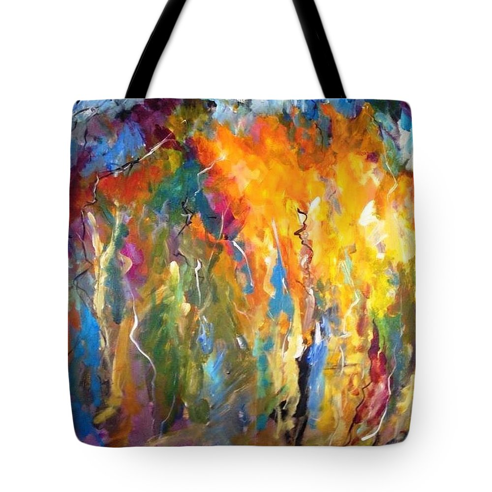 Acrylic Tote Bag featuring the painting And The Light Flickers by Mark Szwabo