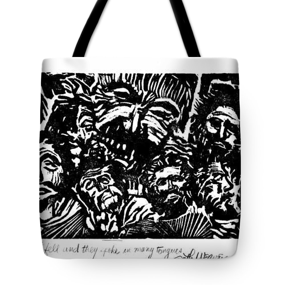 And The Spirit Fell Tote Bag featuring the mixed media And The Spirit Fell by Seth Weaver
