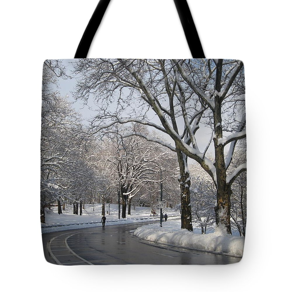 Central Park Tote Bag featuring the photograph And They Still Workout by Catie Canetti