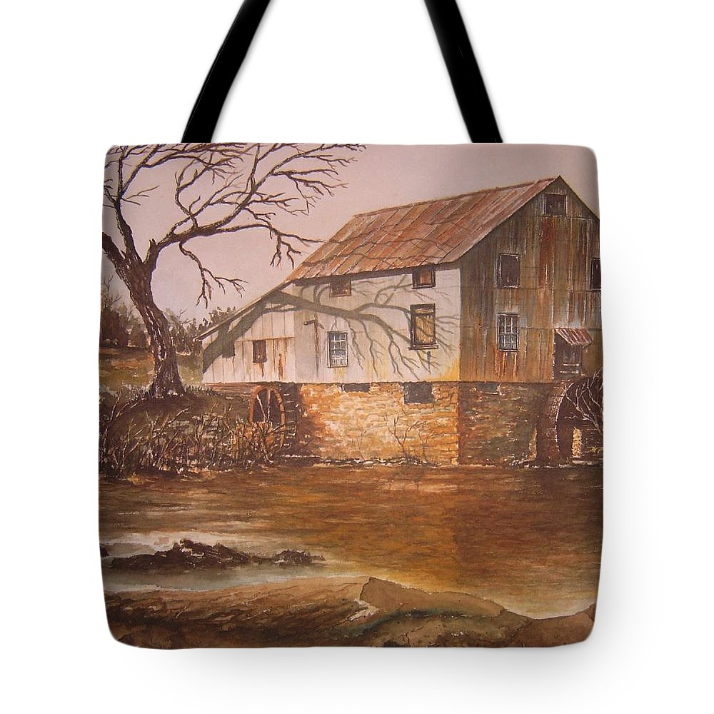 Landscape Tote Bag featuring the painting Anderson Mill by Ben Kiger