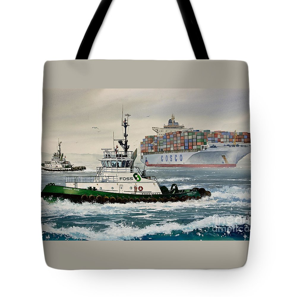 Tugs Tote Bag featuring the painting Andrew Foss Assisting Cosco by James Williamson