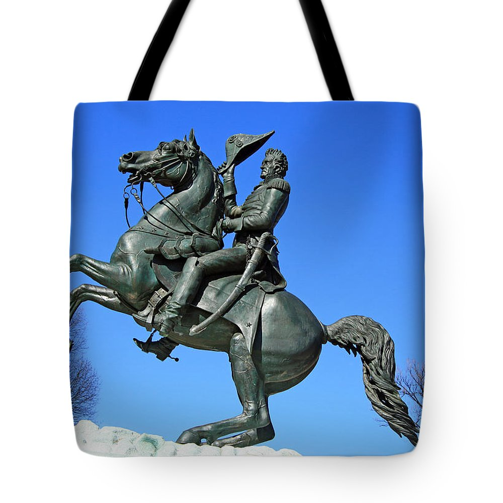 Andrew Tote Bag featuring the photograph Andrew Jackson Raising His Hat by Cora Wandel