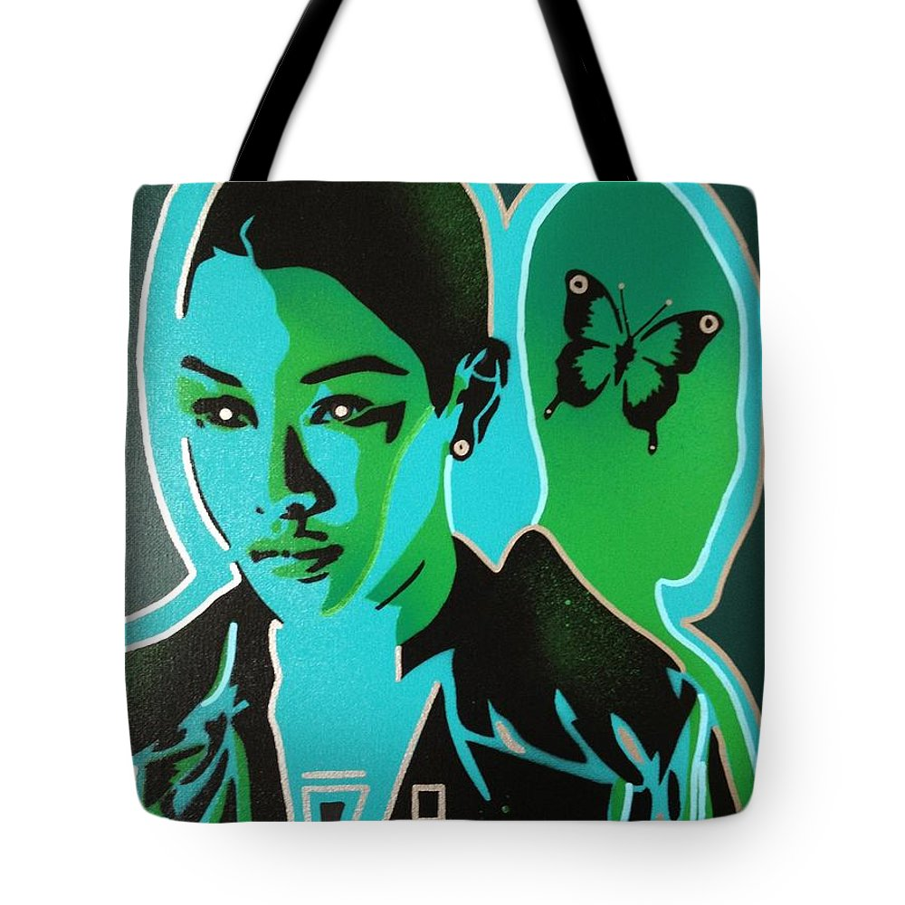 Androids Tote Bag featuring the painting Android 1 In Greens by Leon Keay