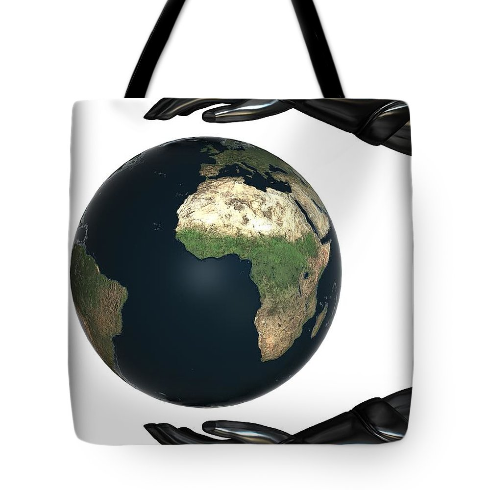 Agreement Tote Bag featuring the digital art Android Hands Keep Earth Globe Safe On White Background by Nenad Cerovic