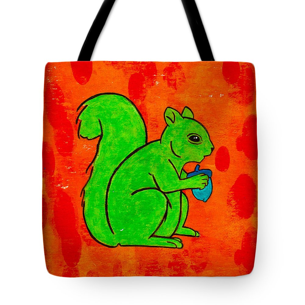 Tote Bag featuring the painting Andy's Squirrel Green by Stefanie Forck