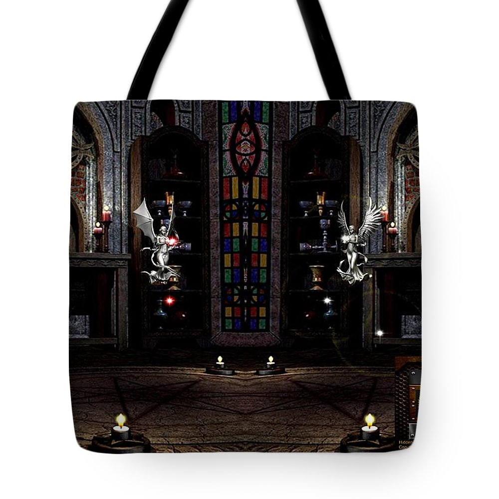 Angel Tote Bag featuring the digital art Angel And Devil by Robert Marquiss