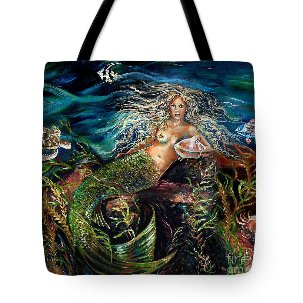 Mermaid Tote Bag featuring the painting Angel Eyes by Linda Olsen