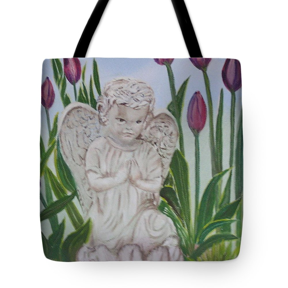 Tulips Tote Bag featuring the painting Angel In The Garden by Sharon Schultz