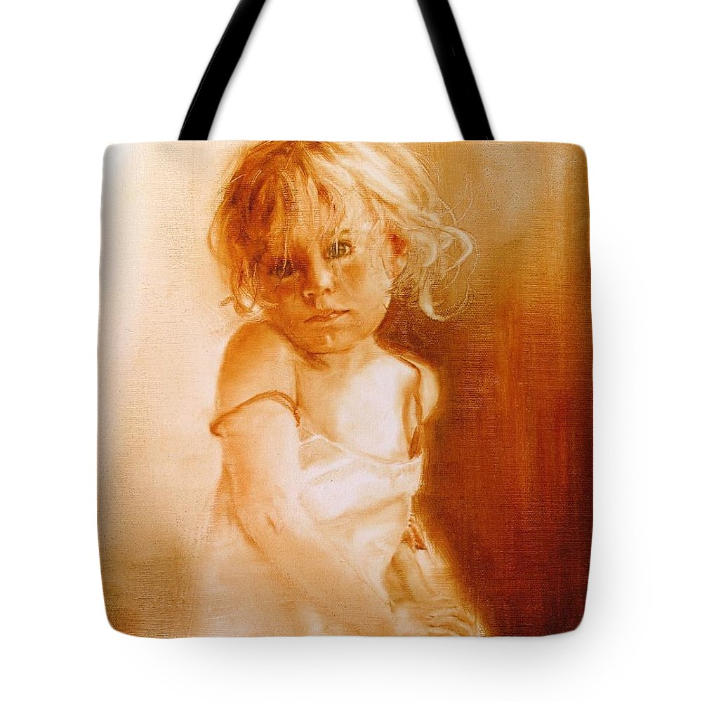 Monocromatic Painting Tote Bag featuring the painting Angel by Laura Lee Zanghetti