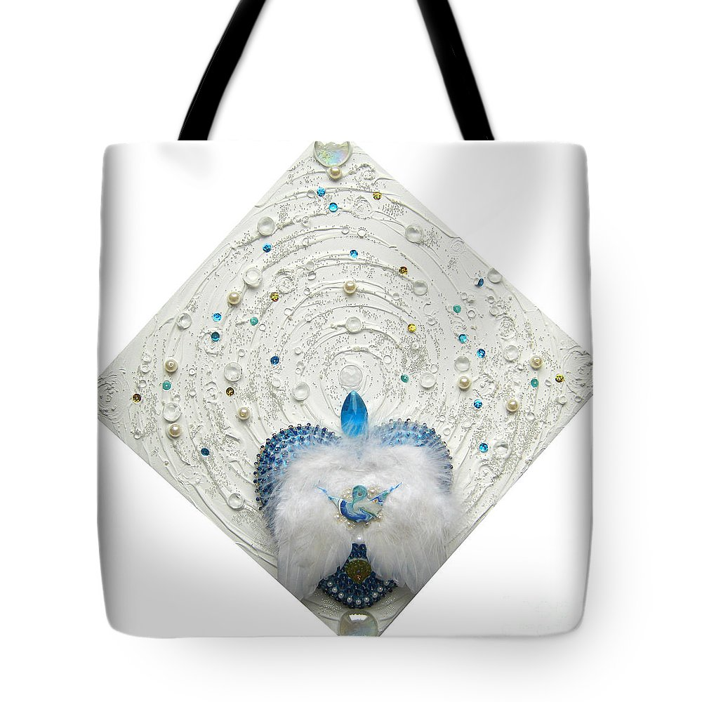 Angel Of Purity And Power Tote Bag featuring the relief Angel Of Purity And Power by Heidi Sieber