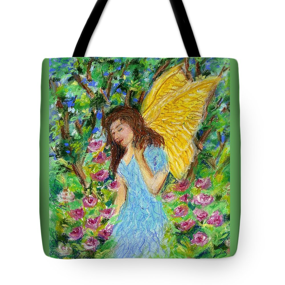 Angel Tote Bag featuring the pastel Angel Of The Garden by Wendy Le Ber