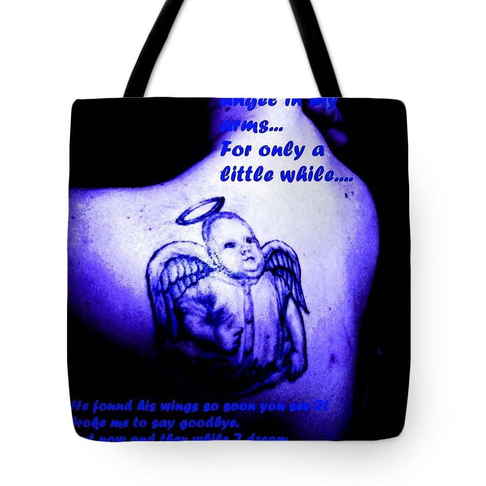 Portrait Tote Bag featuring the photograph Angel On Her Shoulder by Jenn Beck