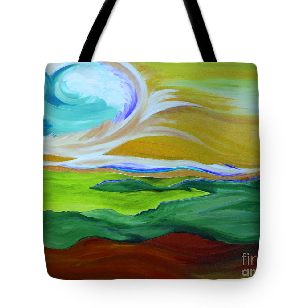 First Star Tote Bag featuring the painting Angel Sky Green By Jrr by First Star Art