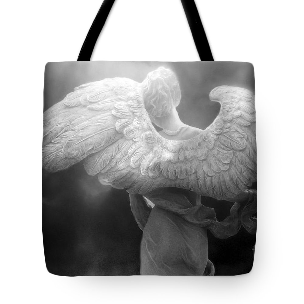 Beautiful angel art tote bag featuring the photograph angel wings dreamy surreal angel wings black