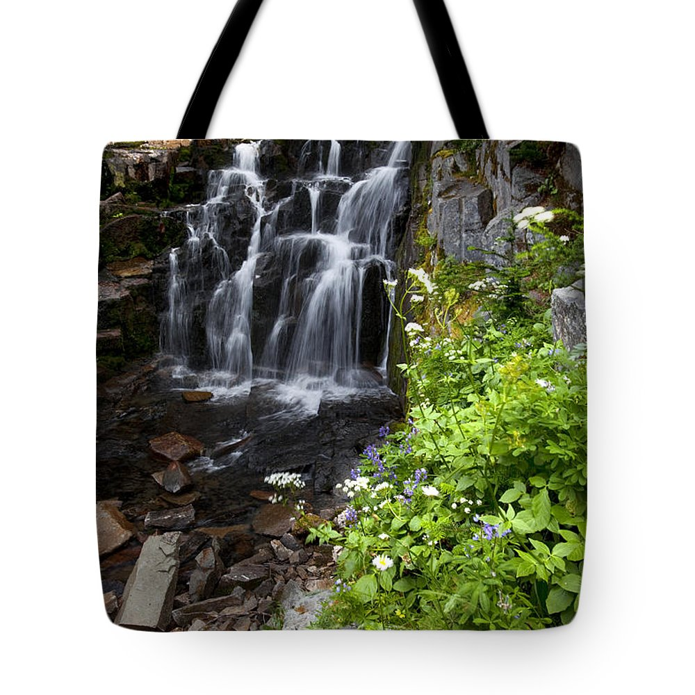 Waterfall Tote Bag featuring the photograph Angelic by Karen Ulvestad