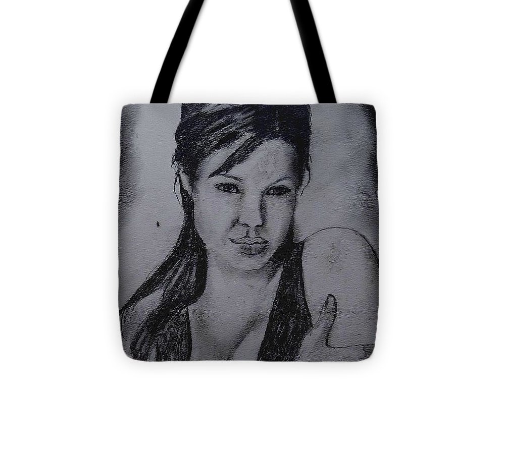 Portrait Tote Bag featuring the painting Angelina by Fineartist Ellen