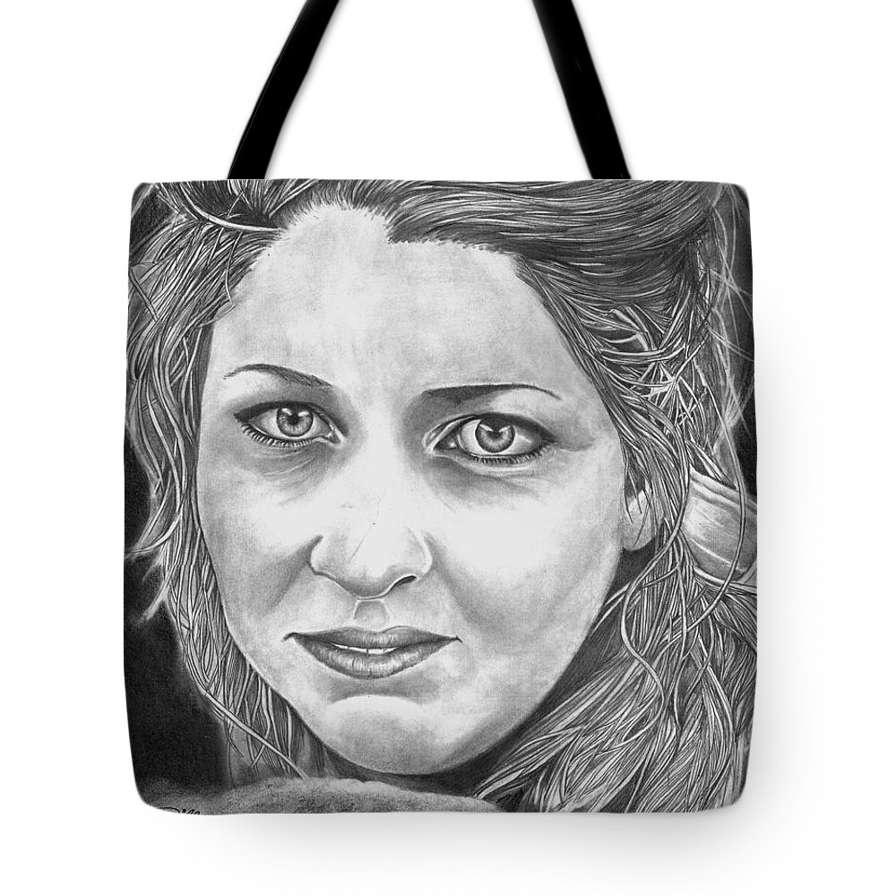 Angie Tote Bag featuring the drawing Angie by Bill Richards