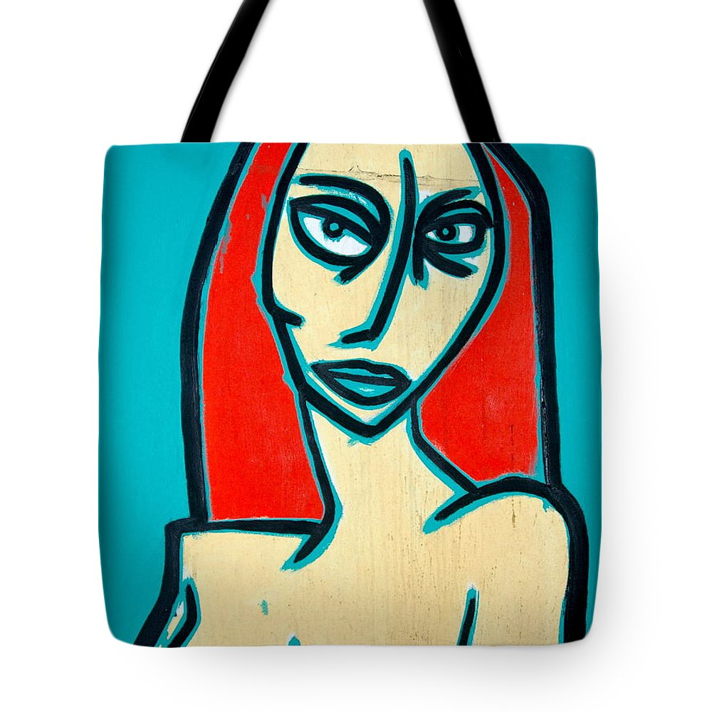 Oil Tote Bag featuring the painting Angry Jen by Thomas Valentine
