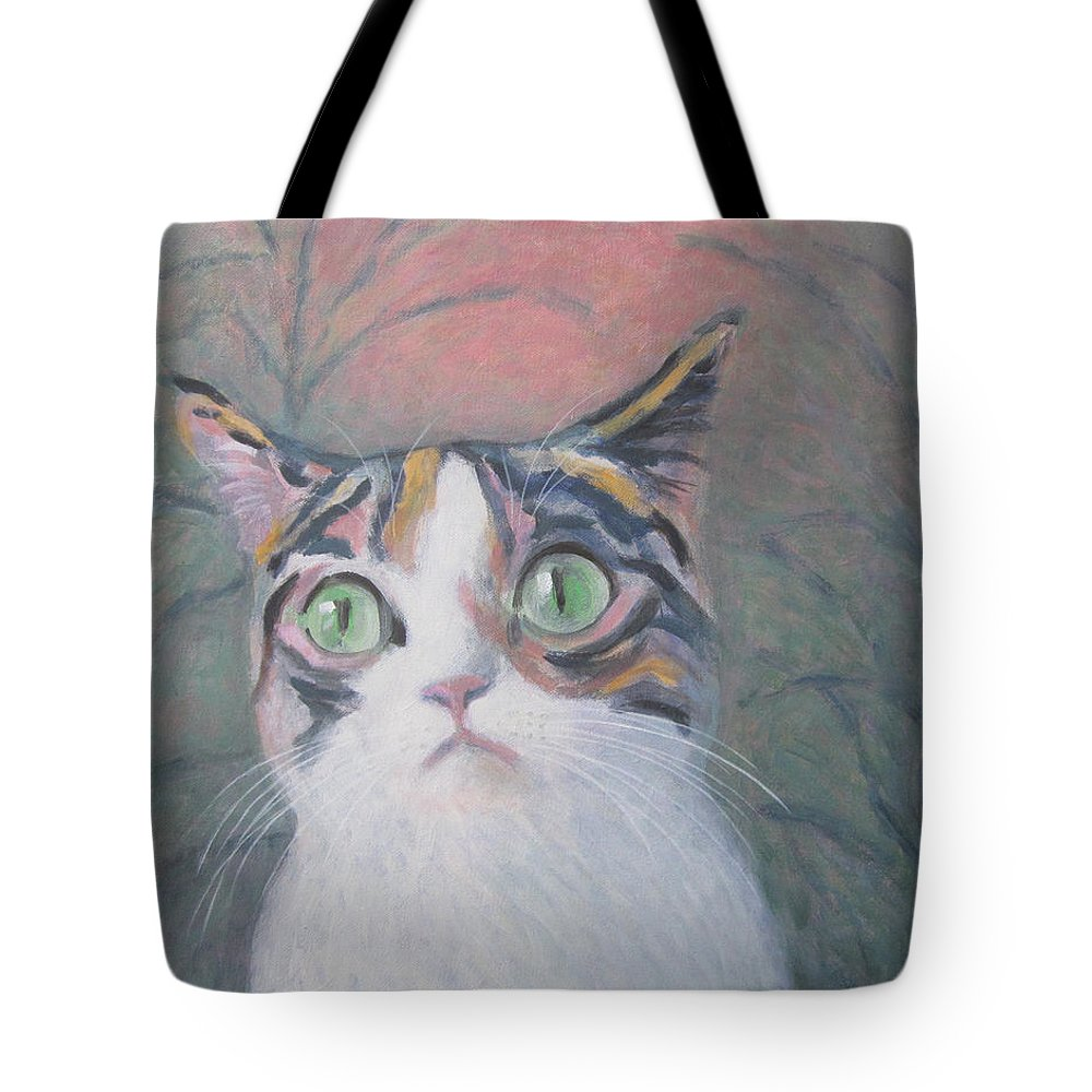 Anguish Of A Cat Tote Bag featuring the painting Anguish Of A Cat by Kazumi Whitemoon