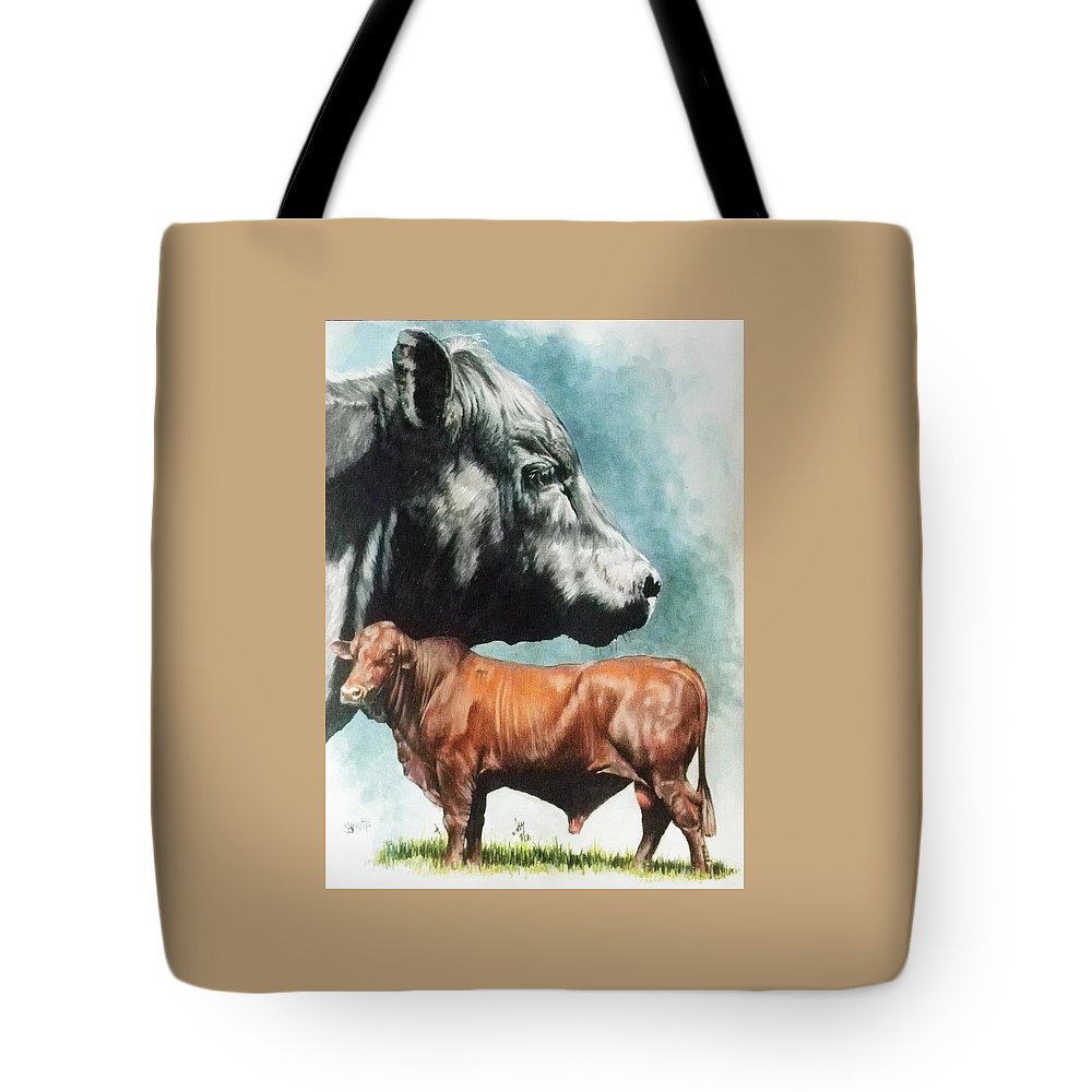 Beef Tote Bag featuring the mixed media Angus Cattle by Barbara Keith