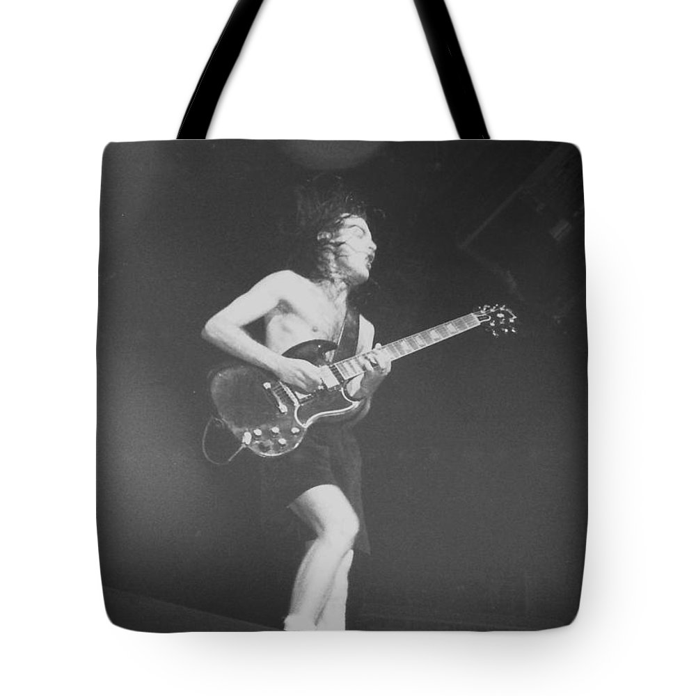 Concert Tote Bag featuring the photograph Angus Young Acdc by Sheryl Chapman Photography