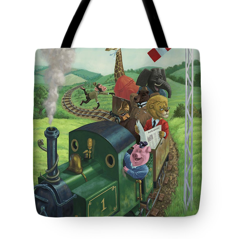 Animal Tote Bag featuring the painting Animal Train Journey by Martin Davey