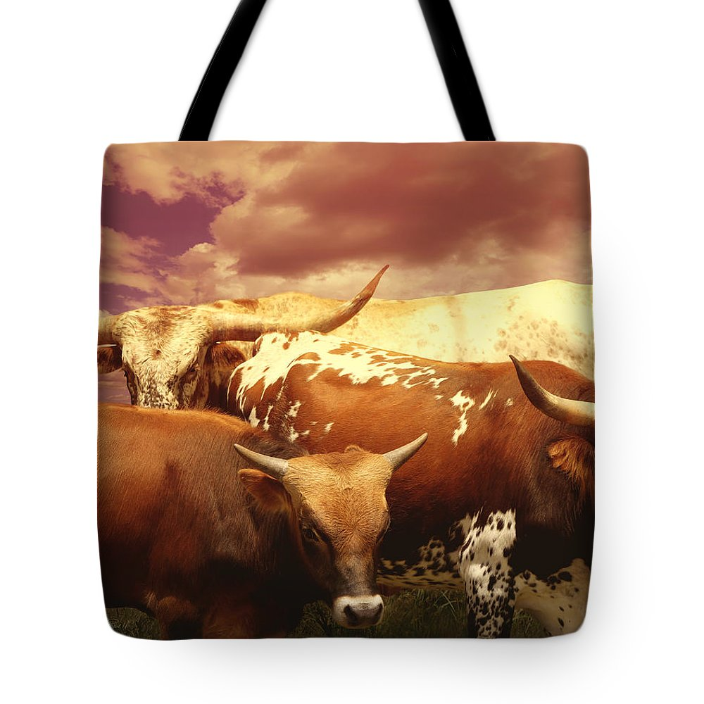 Cow Tote Bag featuring the photograph animals - cows- Longhorns La Familia by Ann Powell