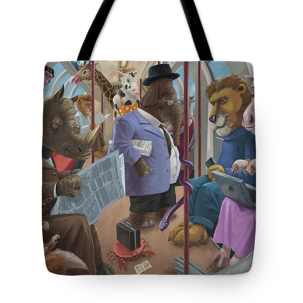 Commute Tote Bag featuring the painting Animals On A Tube Train Subway Commute To Work by Martin Davey
