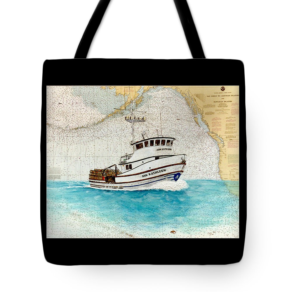Ann Tote Bag featuring the painting Ann Kathleen Crab Fishing Boat Nautical Chart Map Art by Cathy Peek