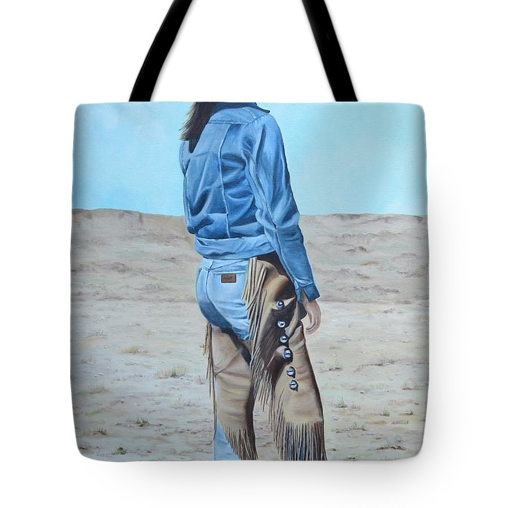 Ranch Tote Bag featuring the painting Anna After The Ride by Mary Rogers