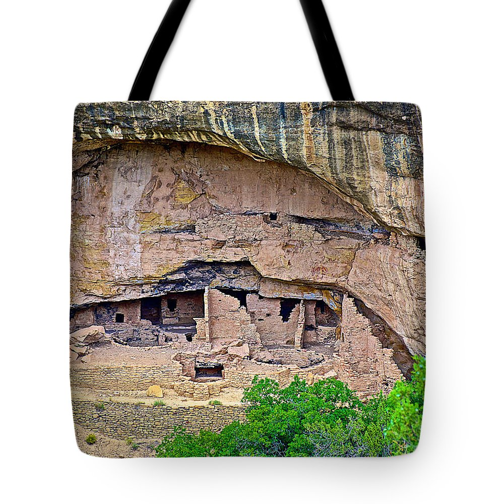Another Dwelling On Chapin Mesa In Mesa Verde National Park Tote Bag featuring the photograph Another Dwelling On Chapin Mesa In Mesa Verde National Park-colorado by Ruth Hager
