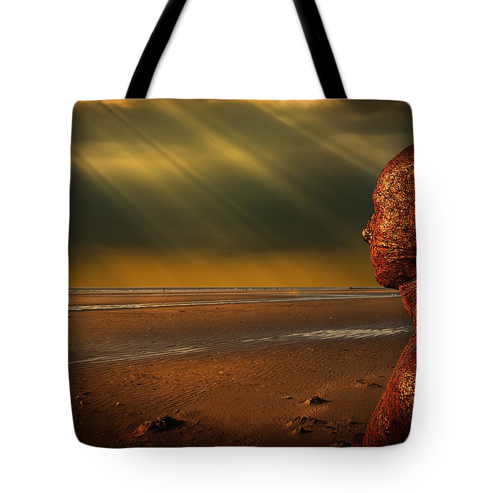 Antony Gormley Tote Bag featuring the photograph Another Place Number Two by Meirion Matthias