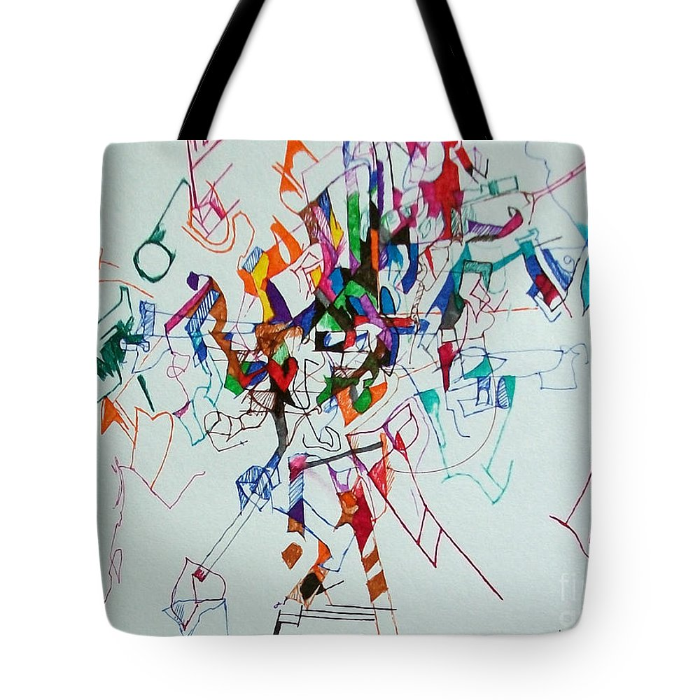 Torah Tote Bag featuring the drawing Answers According To The Halacha 3 by David Baruch Wolk