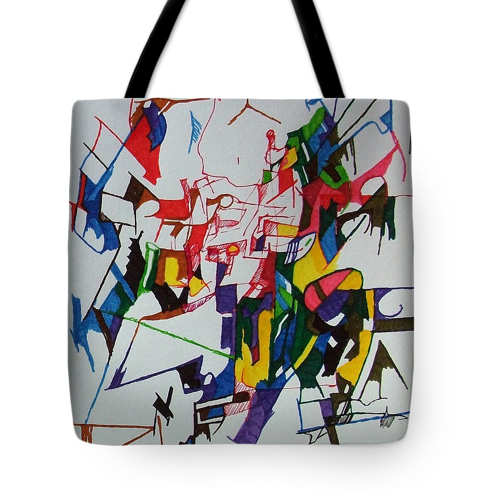 Torah Tote Bag featuring the drawing Answers According To The Halacha 4 by David Baruch Wolk