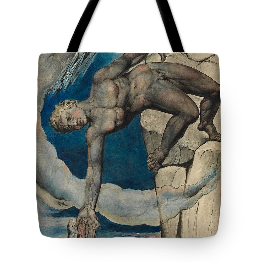 William Blake Tote Bag featuring the painting Antaeus Setting Down Dante And Virgil In The Last Circle Of Hell by William Blake