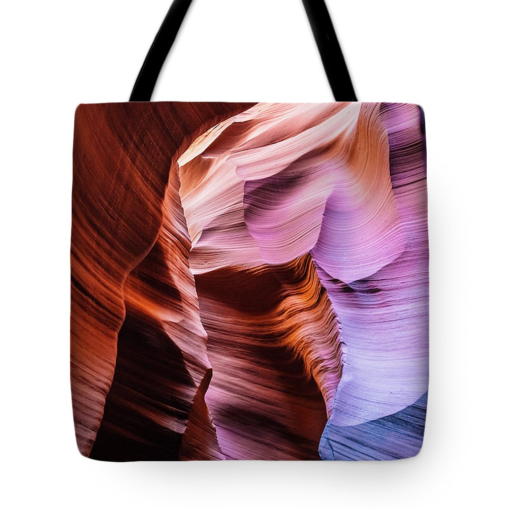 Curve Tote Bag featuring the photograph Antelope Canyon Spiral Rock Arches by Deimagine