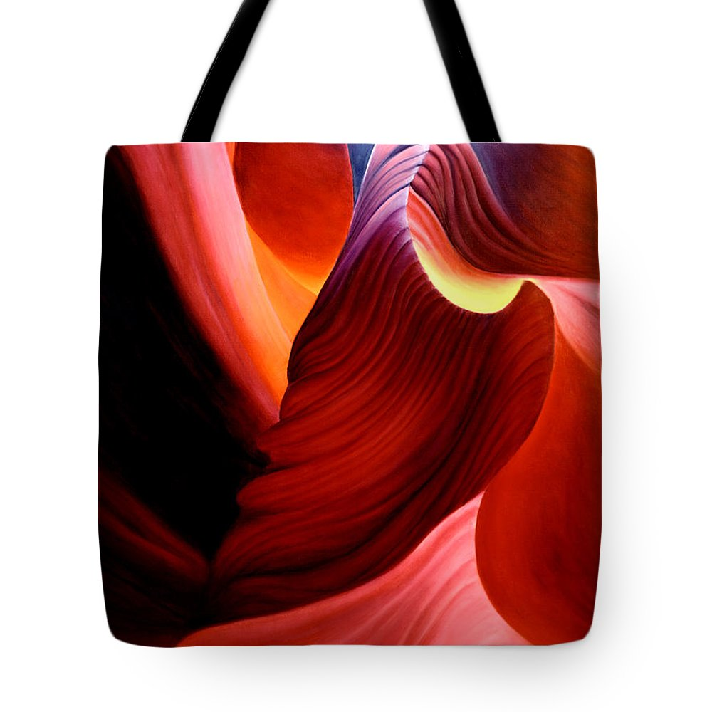 Antelope Canyon Tote Bag featuring the painting Antelope Magic by Anni Adkins